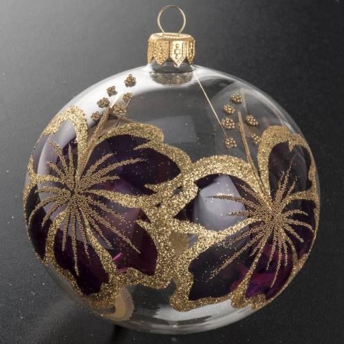 Boule de Noel transparente fleur fuchsia 10 cm s2