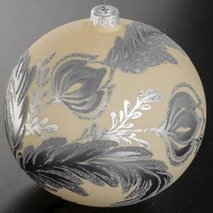 Boule de Noel verre ivoire décor florale 15 cm s3