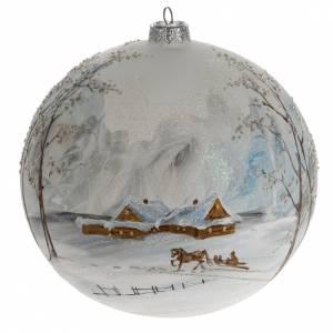 Boule de Noel verre paysage enneigé 15 cm s1
