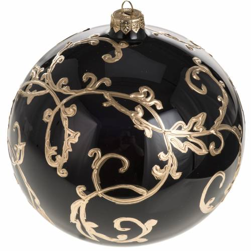 Boule de Noel verre soufflé noire décors dorés 15 cm s1