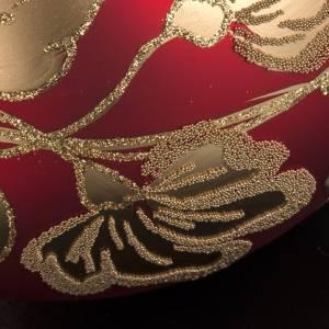 Boule de Noel verre soufflé rouge décors or 15cm s3