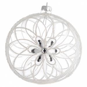 Boule Noël transparente décor fleur blanche 150 mm s1