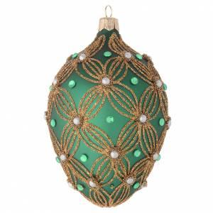 Boule oeuf verre soufflé vert décor or 130 mm s1