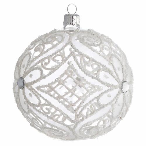 Boule pour Noël blanc mat et transparent 100 mm s2