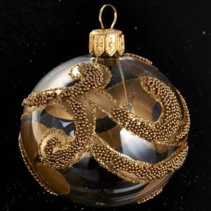Boule sapin de Noel décorée or glitter 6 cm s2