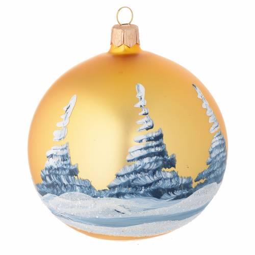 Boule sapin Noël or paysage découpage 100 mm s2