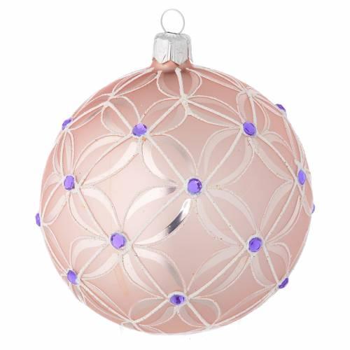 Boule sapin verre soufflé rose et violet 100 mm s1