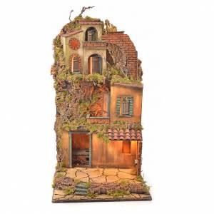 Bourg crèche napolitaine éclairé avec maison et four 65x45x37 s5