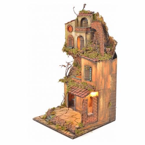 Bourg crèche napolitaine éclairé avec maison et four 65x45x37 s3