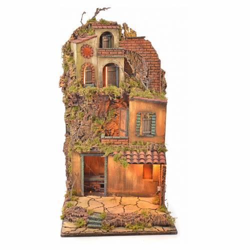 Bourg crèche napolitaine éclairé avec maison et four 65x45x37 s1