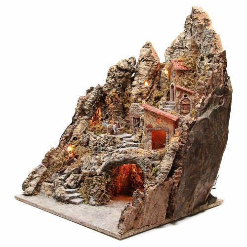 Bourgade illuminée avec grotte et fontaine crèche 68x64x56 cm s2