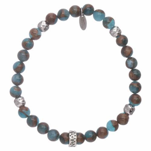 Bracciale AMEN agata azzurra e venatura bronzite argento 925 s2