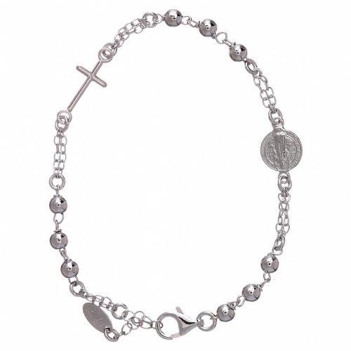 Bracciale AMEN Arg 925 con sfere medaglia e croce s2