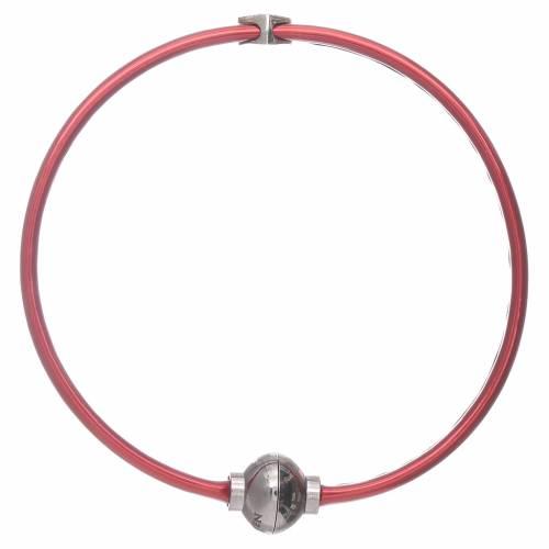 Bracciale AMEN in termoplastica rosso cuoricino zirconato argento 925 s2
