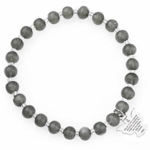 Bracciale AMEN perle Murano grigio scuro 6 mm argento 925 s1