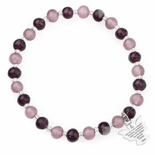 Bracciale AMEN perle Murano viola 6 mm argento 925 s1