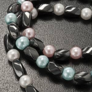 Bracciale elastico ematite e imitazione perla s5
