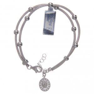 Bracciale  in argento 925 rodiato medaglia Miracolosa con strass s1