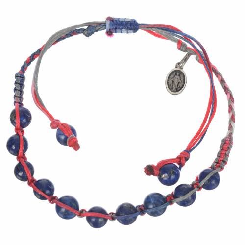 Bracciale Lapislazzuli Med Mir Arg 925 corda multicolor s1