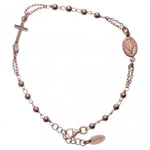 Bracciale rosario AMEN Croce Pavè arg 925 fin. Rosè s2