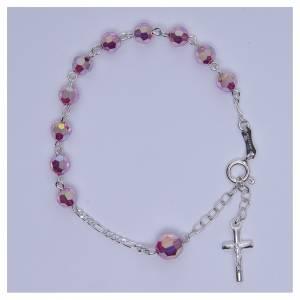 Bracciale rosario cristallo Swarovski 6 mm rosa s3