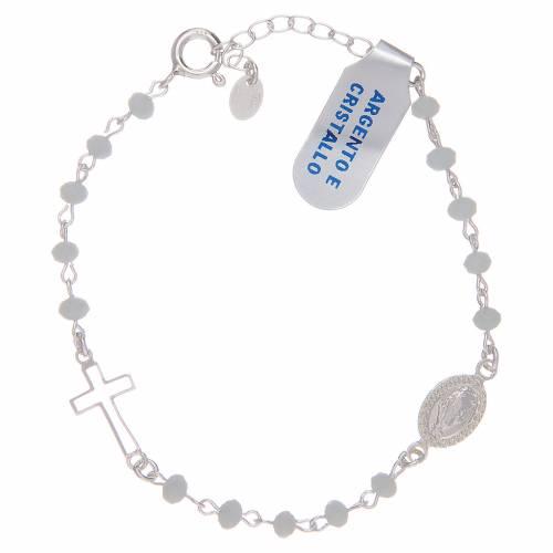 Bracciale rosario in argento 925 e cristallo bianco 1