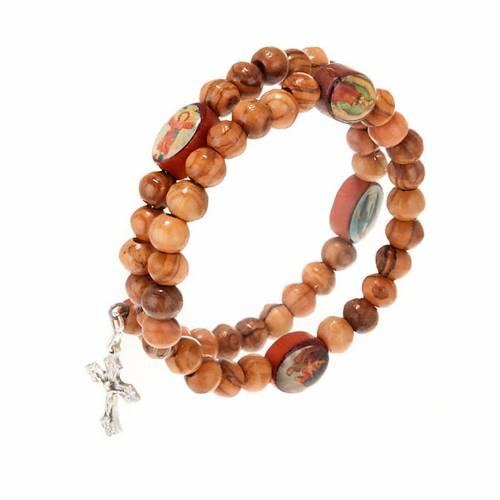 Bracelet à ressort en bois d'olivier avec image s3