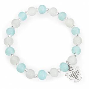 Bracelets AMEN: Bracelet Amen enfant perles Murano aigue-marine-blanc arg 925