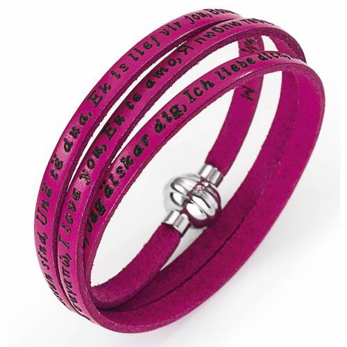 Bracelet Amen Je t'aime dans toutes les langues fuchsia s1