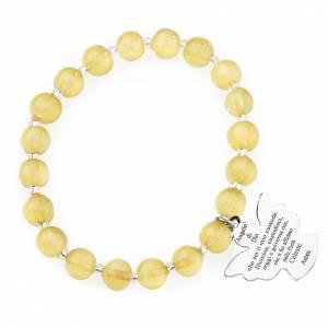 Bracelets AMEN: Bracelet Amen perles verre Murano jaune topaze 8 mm argent 925