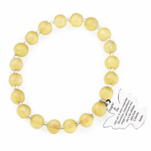 Bracelet Amen perles verre Murano jaune topaze 8 mm argent 925 s1