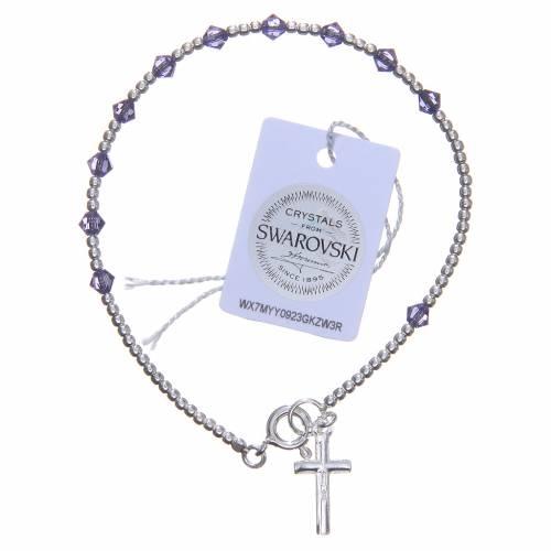 Bracelet argent 800 cristaux Swarovski coniques 4 mm violets s2