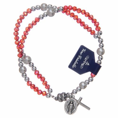 Bracelet avec grains en cristal rouge et fermeture aimantée s1