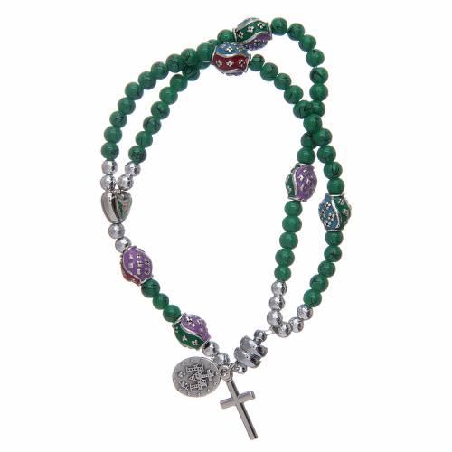 Bracelet chapelet avec grains en verre de 4 mm et en métal émaillé vert s2