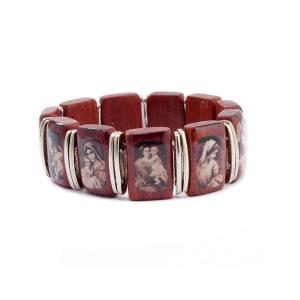 Bracelet-chapelet, dix grains, images, bois s2