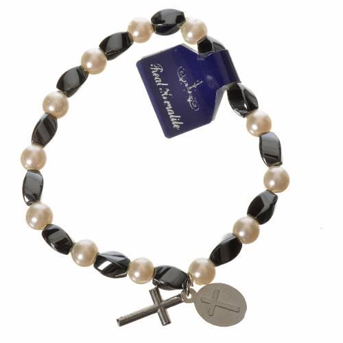Bracelet élastique hématite Jean-Paul II 6x9 mm s2