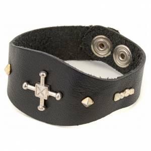 Bracelet en cuir noir avec décorations en argent 925 s1