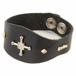 Bracelet in black leather with decorations in sterling silver s1