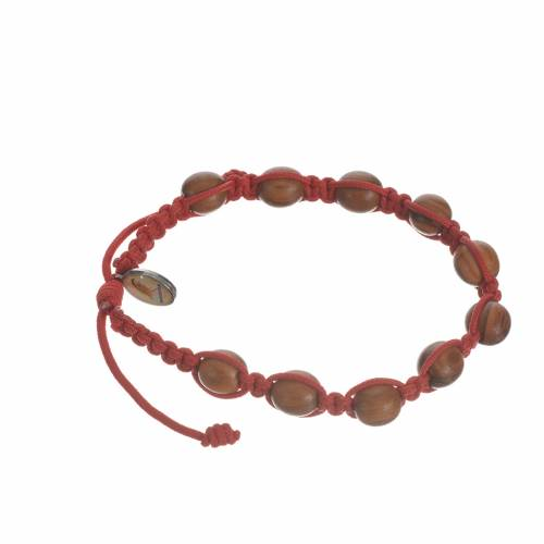 Bracelet in cord and olive wood grains 9mm s5