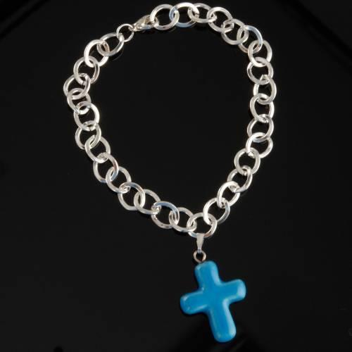 Bracelet in metal with ceramic cross s3