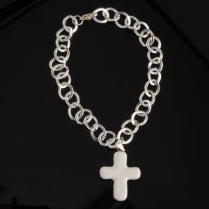 Bracelet in metal with ceramic cross s4