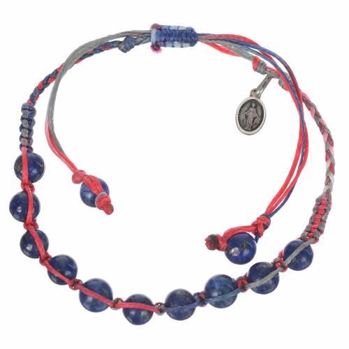 Bracelet Lapis-Lazuli Méd. Miraculeuse Arg 925 cordon multicolore s1