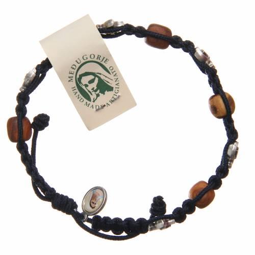 Bracelet Medjugorje corde bleu foncé bois olivier s1
