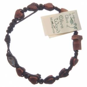 Bracelets, dizainiers: Bracelet Medjugorje corde noire coeurs tau olivier