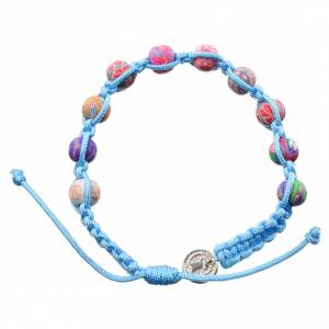 Bracelets, dizainiers: Bracelet Medjugorje fimo sur corde bleu ciel