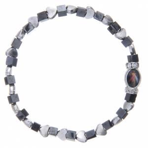 Bracelet Medjugorje hématite noire avec coeurs s2