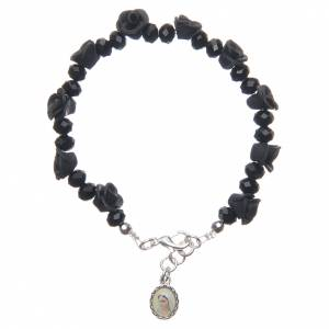 Bracelets, dizainiers: Bracelet Medjugorje noir grains cristal roses céramique