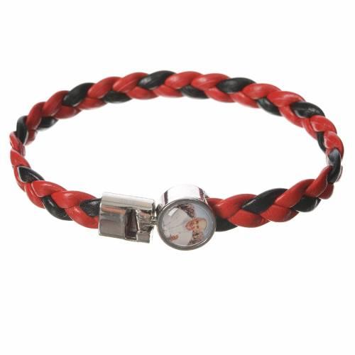 Bracelet tressé 20 cm Pape François rouge/noir s1