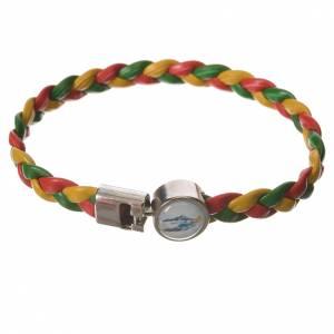 Bracelet tressé 20 cm Vierge Miraculeuse rouge/jaune/vert s1