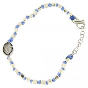 Silver bracelets: Bracelet with 2 mm multifaceted beads light blue cord and Saint Rita medal with black zircons